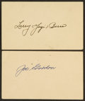Baseball Collectibles:Others, Yogi Berra and Joe Gordon Signed Government Postcards Lot of 2....