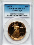 Modern Bullion Coins: , 1988-W G$50 One-Ounce Gold Eagle PR70 Deep Cameo PCGS. PCGSPopulation (312). NGC Census: (971). Mintage: 87,133. Numismedi...