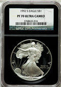 Modern Bullion Coins, 1992-S $1 Silver Eagle PR70 Ultra Cameo NGC. Ex: 25th Anniversary Holder. NGC Census: (766). PCGS Population (481). Mintage...