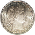 Barber Quarters: , 1902 25C MS67 PCGS. Lavish aquamarine, dove-gray, and pumpkin-goldtoning ensures the eye appeal of this lustrous Superb Ge...