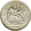 Seated Half Dollars: , 1855-O 50C Arrows MS66 NGC. This stone-white and satiny Premium Gemis essentially free from marks. The strike is crisp ove...