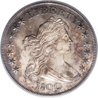 1800 $1 AU58 PCGS. B-16, BB-187, R.2. A small die dot is clearly visible midway between the curl point and the lower lef...