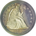 Proof Seated Dollars: , 1854 $1 PR63 Cameo PCGS. All pre-1858 proof coinage is rare, andmost of the mintages are unk...
