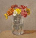 Fine Art - Painting, American:Contemporary   (1950 to present)  , ROBERT KULICKE (American, 1924-2007). Zinnias in a Glass Jar ona Light Grey Background, 1997. Oil on wood panel. 9-3/4 ...