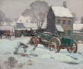 Fine Art - Painting, American:Modern  (1900 1949)  , CHARLES BASING (American, 1865-1933). Winter Landscape withWagon. Oil on canvas. 20 x 24 inches (50.8 x 61.0 cm). Signe...