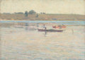 Fine Art - Painting, American:Modern  (1900 1949)  , AMERICAN SCHOOL (20th Century). Landscape with Fishermen,circa 1900-10. Oil on canvas. 14 x 20-3/4 inches (35.6 x 52.7 ...