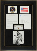 Explorers:Space Exploration, Apollo 11 Flown French 20 Franc Coin and Necklace in Framed Displaywith Crew-Signed Letter of Authenticity....