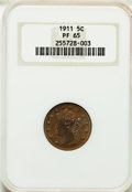 Proof Liberty Nickels: , 1911 5C PR65 NGC. NGC Census: (147/103). PCGS Population (116/53).Mintage: 1,733. Numismedia Wsl. Price for problem free N...