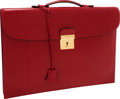 Luxury Accessories:Accessories, Hermes Rouge H Calf Box Leather Quirius Sac a Depeche Briefcase....