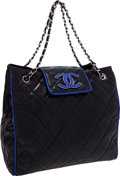 Luxury Accessories:Bags, Chanel Navy Lambskin Leather Tote Bag with Royal Blue Trim. ...