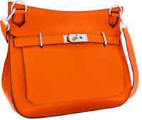 Hermes 34cm Orange H Clemence Leather Jypsiere Messenger Bag with Palladium Hardware