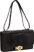 Luxury Accessories:Bags, Hermes 23cm Matte Black Porosus Crocodile Sac Olympe Shoulder Bagwith Gold Hardware. ...