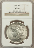 Peace Dollars, 1928 $1 MS64 NGC. NGC Census: (937/91). PCGS Population (1724/257).Mintage: 360,649. Numismedia Wsl. Price for problem fre...