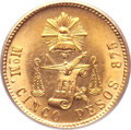 Mexico, Mexico: Republic gold 5 Pesos 1904 Mo-M,...