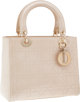 "Christian Dior Metallic Beige Cannage Lady Dior Tote Bag Excellent Condition 9.5"" Width x 7.5"" Height x 3.5&qu..."
