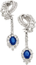 Estate Jewelry:Earrings, Sapphire, Diamond, Platinum, White Gold Earrings, Piranesi. ...