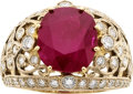 Estate Jewelry:Rings, Burmese Ruby, Diamond, Gold Ring. ...