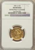 Liberty Half Eagles, 1841-D $5 Small D -- Improperly Cleaned -- NGC Details. Variety5-D....
