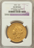 Liberty Double Eagles, 1850 $20 -- Improperly Cleaned -- NGC Details. AU....