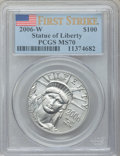 Modern Bullion Coins, 2006-W $100 First Strike One Ounce Platinum Eagle MS70 PCGS. PCGSPopulation (404). NGC Census: (0). Numismedia Wsl. Price...