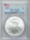 Modern Bullion Coins, 2006 $1 Silver Eagle, First Strike MS70 PCGS. PCGS Population(557). NGC Census: (2228). . From The TwinightCollection....