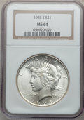 Peace Dollars: , 1925-S $1 MS64 NGC. NGC Census: (1619/63). PCGS Population(1755/39). Mintage: 1,610,000. Numismedia Wsl. Price for problem...