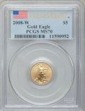 Modern Bullion Coins, 2008-W $5 First Strike One Tenth Ounce Gold Eagle MS70 PCGS. PCGSPopulation (68). NGC Census: (0).. From The Twinight Co...