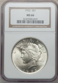 Peace Dollars: , 1922 $1 MS66 NGC. NGC Census: (1373/36). PCGS Population (580/21).Mintage: 51,737,000. Numismedia Wsl. Price for problem f...
