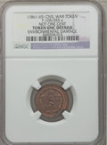 Civil War Patriotics, 1863 Not One Cent -- Environmental Damage -- NGC Details, XF,Fuld-103/375a; Undated Not One Cent -- Environmental Damage -- N...(Total: 3 tokens)