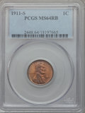 Lincoln Cents: , 1911-S 1C MS64 Red and Brown PCGS. PCGS Population (230/57). NGCCensus: (109/59). Mintage: 4,026,000. Numismedia Wsl. Pric...