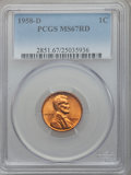 Lincoln Cents: , 1958-D 1C MS67 Red PCGS. PCGS Population (75/0). NGC Census:(218/0). Mintage: 800,953,280. Numismedia Wsl. Price for probl...