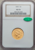Three Dollar Gold Pieces, 1855 $3 AU55 NGC. CAC....