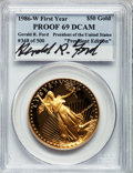 """Modern Bullion Coins, 1986-W G$50 One-Ounce Gold Eagle PR69 Deep Cameo PCGS. First Yearof Issue """"President Edition"""" Autographed by Gerald R. For..."""