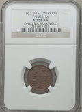 Civil War Merchants, 1863 Davies & Maxwell, West Unity, OH, AU58 NGC.Fuld-OH930A-1a....