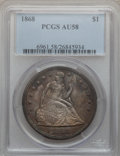 Seated Dollars, 1868 $1 AU58 PCGS....