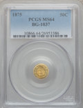 California Fractional Gold, 1875 50C Indian Round 50 Cents, BG-1037, R.4, MS64 PCGS....