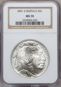 Modern Issues: , 2001-D $1 Buffalo Silver Dollar MS70 NGC. NGC Census: (1627). PCGSPopulation (787). Numismedia Wsl. Price for problem fre...