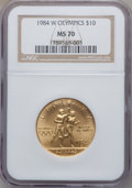 Modern Issues: , 1984-W G$10 Olympic Gold Ten Dollar MS70 NGC. NGC Census: (435).PCGS Population (118). Mintage: 75,800. Numismedia Wsl. Pr...
