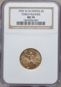 Modern Issues: , 1995-W G$5 Olympic/Torch Runner Gold Five Dollar MS70 NGC. NGCCensus: (676). PCGS Population (211). Numismedia Wsl. Price...