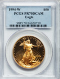 Modern Bullion Coins: , 1994-W G$50 One-Ounce Gold Eagle PR70 Deep Cameo PCGS. PCGSPopulation (147). NGC Census: (601). Numismedia Wsl. Price for...