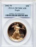 Modern Bullion Coins, 2002-W G$50 One-Ounce Gold Eagle PR70 Deep Cameo PCGS. PCGSPopulation (169). NGC Census: (637). Numismedia Wsl. Price for...