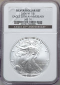 Modern Bullion Coins, 2006-W $1 20th Anniversary Silver Eagle MS70 NGC. NGC Census:(7187). PCGS Population (384). Numismedia Wsl. Price for pro...