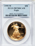 Modern Bullion Coins: , 1995-W G$50 One-Ounce Gold Eagle PR70 Deep Cameo PCGS. PCGSPopulation (176). NGC Census: (727). Numismedia Wsl. Price for...