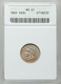 Three Cent Nickels: , 1865 3CN MS61 ANACS. NGC Census: (63/1359). PCGS Population(31/1416). Mintage: 11,382,000. Numismedia Wsl. Price for probl...