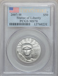 Modern Bullion Coins, 2007-W $50 Half-Ounce Platinum Eagle, First Strike MS70 PCGS. PCGSPopulation (148). NGC Census: (0). . From The Twinigh...