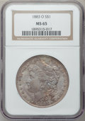 Morgan Dollars: , 1883-O $1 MS65 NGC. NGC Census: (9664/1030). PCGS Population(7227/726). Mintage: 8,725,000. Numismedia Wsl. Price for prob...