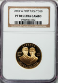 Modern Issues, 2003-W G$10 First Flight Gold Ten Dollar PR70 Ultra Cameo NGC. NGCCensus: (522). PCGS Population (97). Numismedia Wsl. Pr...
