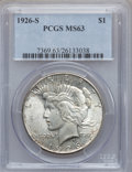 Peace Dollars: , 1926-S $1 MS63 PCGS. PCGS Population (2242/2691). NGC Census:(1485/2185). Mintage: 6,980,000. Numismedia Wsl. Price for pr...