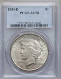 Peace Dollars: , 1934-D $1 AU58 PCGS. PCGS Population (566/4467). NGC Census:(474/3429). Mintage: 1,569,500. Numismedia Wsl. Price for prob...
