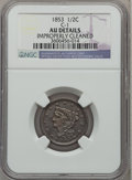 Half Cents: , 1853 1/2 C -- Improperly Cleaned -- NGC Details. AU. C-1. NGCCensus: (11/775). PCGS Population (37/600). Mintage: 129,694...